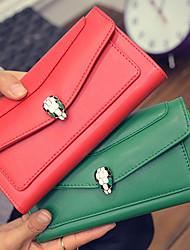 Women PU Bi-fold Clutch / Wallet-Green / Red / Gray / Black