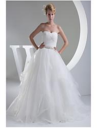 A-line Wedding Dress-Ivory Floor-length Sweetheart Organza / Satin