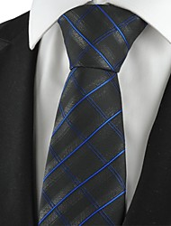 Checked Pattern Navy Black Mens Tie Formal Necktie Wedding Holiday Gift KT1052