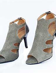 Customizable Women's Dance Shoes Latin / Jazz / Swing Shoes / Salsa / Samba Flocking Customized Heel Gray