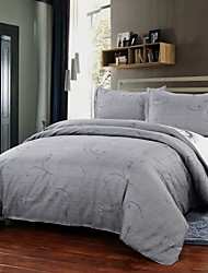 Simple Opulence Duvet Cover Set Polyester luxury Printed Light Gray Include Quilt Cover Pillow Cases Queen King
