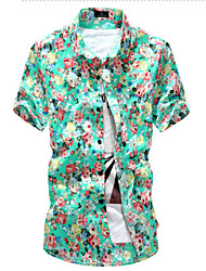 Brand Fashion Men's Short Sleeve Floral Printing Beach Shirt,Cotton / Polyester Casual / Sport Floral