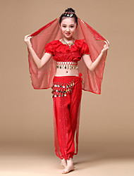 Belly Dance Outfits Children's Performance Chiffon Gold Coins / Ruffles 5 Pieces Fuchsia / Red / Yellow