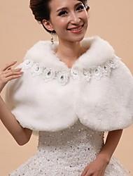 Wedding  Wraps / Fur Wraps / Hoods & Ponchos Capelets Sleeveless Faux Fur White Wedding / Party/Evening Off-the-shoulderButton / Lace /