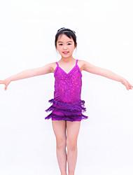 Latin Dance Dancewear Adults' Children's Sequin Fringe Biketard Latin Outfit