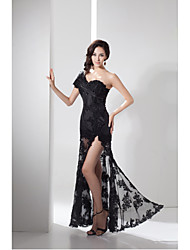 Formal Evening Dress Sheath / Column One Shoulder Floor-length Lace / Taffeta with Lace / Split Front