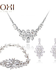 Lady's Silver Crystal Jewelry Set include Necklace & Earrings & Bracelet for Gift