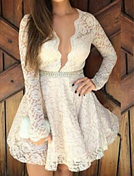 Women's Solid/Lace White Dress, Sexy Deep V Long Sleeve Skater(Belt excl.)
