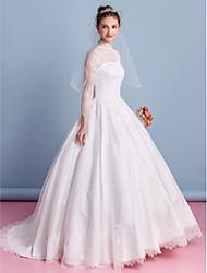 A-line Wedding Dress - Ivory Floor-length High Neck Lace