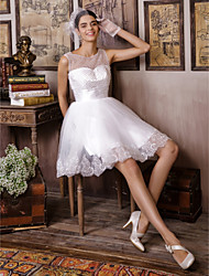 A-line Wedding Dress-Knee-length Straps