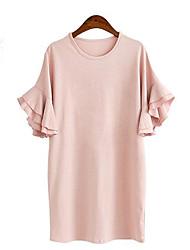 Mulheres Solto Vestido,Tamanhos Grandes Simples / Moda de Rua Sólido Decote Redondo Acima do Joelho Manga Curta Azul / Rosa / Cinza