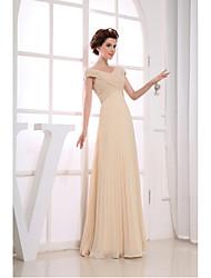 Formal Evening Dress-Champagne Sheath/Column V-neck Floor-length Chiffon