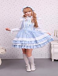 Steampunk®Cotton Blue Lace Front Ties Sweet Lolita Dress JSK