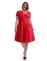 Damen Kleid - Swing Retro Solide Knielang Baumwolle V-Ausschnitt