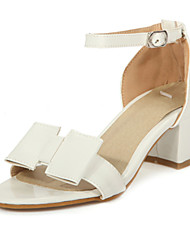 Women's Shoes Patent Leather Chunky Heel Open Toe Sandals Office & Career / Dress / Casual Black / Pink / White