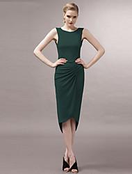 сексуальная Crewneck асимметричный плиссированные высокая низкая платье joannekitten® женщин
