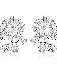 lureme®Fashion Style Silver Plated Flowers Shaped Stud Earrings