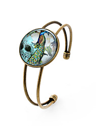 Lureme® Simple Jewelry Time Gem Series Peacock Flowers Disc Charm Open Bangle Bracelet for Women and Girl