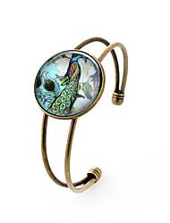 Pulseiras com Pendentes Bracelete Gema Prata Chapeada Vidro Liga Estilo simples Pavão Bronze Jóias 1peça
