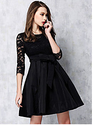 Women's Simple Solid Loose Dress,Round Neck Knee-length Polyester