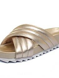 Women's Shoes Cowhide / Leather Platform / Slippers Sandals / Slippers Office & Career / Dress / Casual Silver / Gold