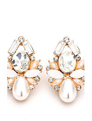 18K Gold Full Crystal Rhinestone Pearl Security Quality Stud Earrings Jewelry for Wedding Party