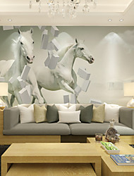 JAMMORY Large 3D Stereo Large Wall Paintings Wallpaper / Wallpaper / Living Room TV Background Wall White Horse XL XXL XXXL