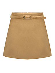 Women's Solid Red / Black / Brown Skirts,Work / Simple Mini
