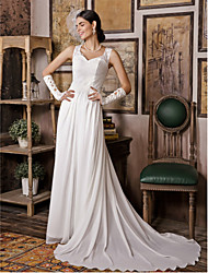 Sheath / Column Wedding Dress See-Through Sweep / Brush Train V-neck Chiffon Satin with Appliques