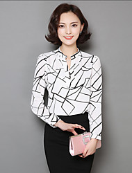 Women's Casual/Daily Cute Summer Blouse,Floral V Neck Short Sleeve White / Black Polyester Thin