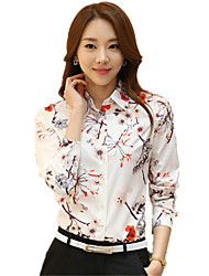 Women's Flower Print OL Plus Size Chiffon Long Sleeve Shirt