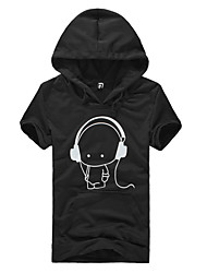 Men's Casual/Daily Simple Hoodie Print Micro-elastic Polyester Short Sleeve Summer Fall