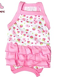 FUN OF PETS® 2016 Cool Strawberry Cherry Pattern Strap Dress for Pets Dogs Dog Clothes Lovely Dog Skirt