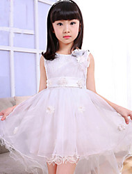 A-line Asymmetrical Flower Girl Dress-Lace / Organza / Satin Sleeveless