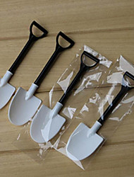 100pcs Disposable potted black and white ice cream scoop shovel small potted flower pot spoon