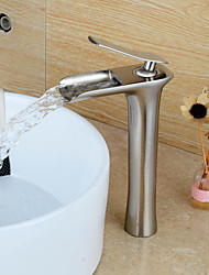 Personalized Contemporary Waterfall Single Handle Nickel Brushed Finish Bathroom Sink Faucet