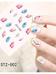 1pcs  Water Transfer Nail Art Stickers Cat Feather Strawberry Apple Flower Nail Art Design STZ1-9