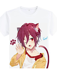 Free! White Terylene Short Sleeve Cosplay T-Shirt