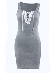 Women's Sexy / Street chic Patchwork Hollow Out Bandage Sheath Dress,Round Neck Mini