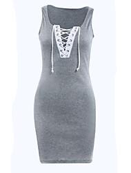Robe Aux femmes Gaine Sexy / Street Chic,Mosaïque Col Arrondi Mini Polyester