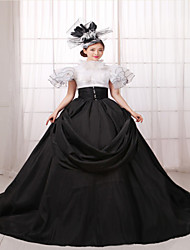 One-Piece/Dress Gothic Lolita Steampunk® / Victorian Cosplay Lolita Dress Black Solid Short Sleeve Long Length Dress / Hat For WomenSilk