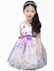 Girl's Green / Pink / Purple Dress,Floral / Lace / Bow Cotton Summer