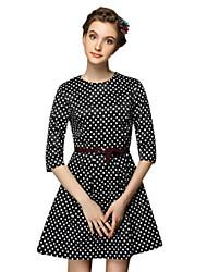 Women's Simple Polka Dot A Line Dress,Round Neck Mini Polyester