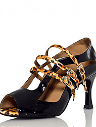 Zapatos de baile(Azul / Leopardo) -Latino / Jazz / Salsa / Samba / Zapatos de Swing-Personalizables-Tacón Personalizado