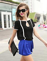 Damen Solide Retro / Street Schick Lässig/Alltäglich T-shirt,Rundhalsausschnitt Sommer Kurzarm Weiß / Schwarz Polyester Dünn