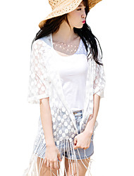 Women's Beach Sexy Summer Shirt,Solid Cowl ½ Length Sleeve White Polyester Sheer