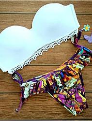 Women's Bandeau Bikinis,Solid Padded Bras Spandex White