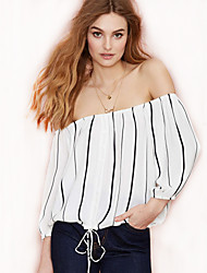 Women's Striped White Chiffon Blouse,Sexy / Simple / Casual Fashion Boat Neck ¾ Sleeve Polyester