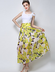Women's Floral Red / Yellow Skirts,Casual / Day Maxi