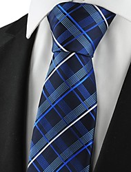Checked Pattern Navy Mens Tie Formal Suits Necktie Wedding Holiday Gift KT1076